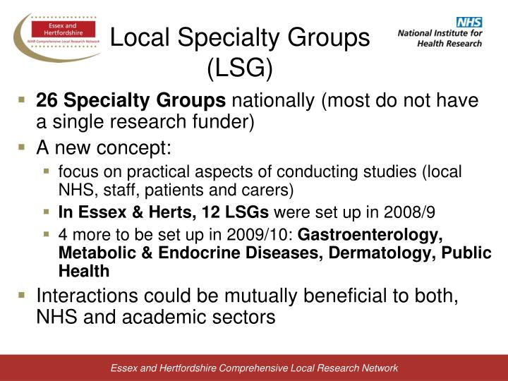 Local Specialty Groups (LSG)