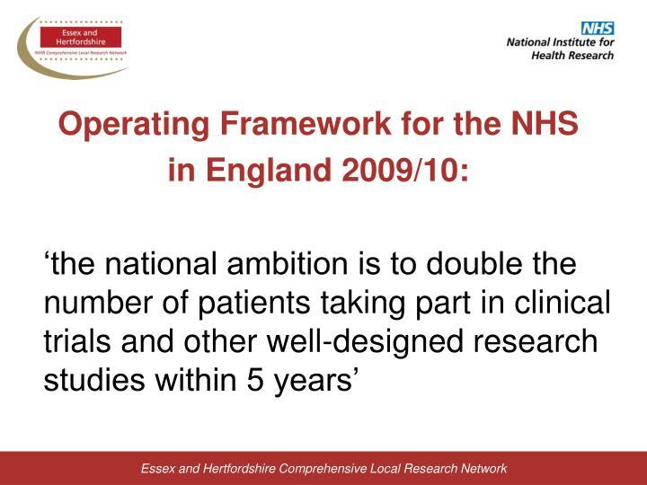 Operating Framework for the NHS