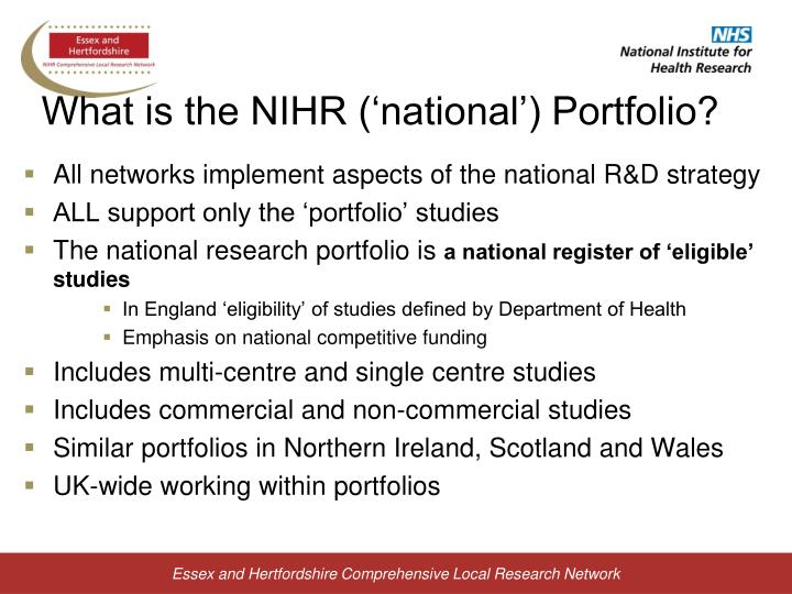 What is the NIHR ('national') Portfolio?
