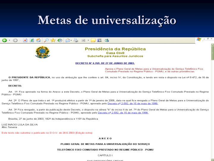 Metas de universalização