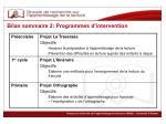 bilan sommaire 2 programmes d intervention