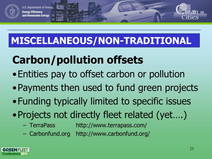 Carbon/pollution offsets