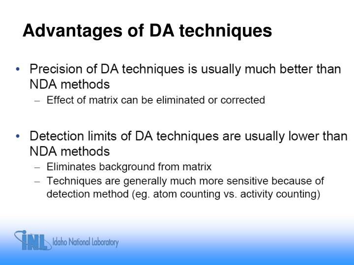 Advantages of DA techniques