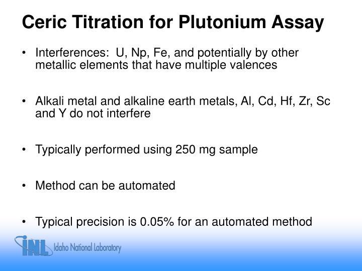 Ceric Titration for Plutonium Assay