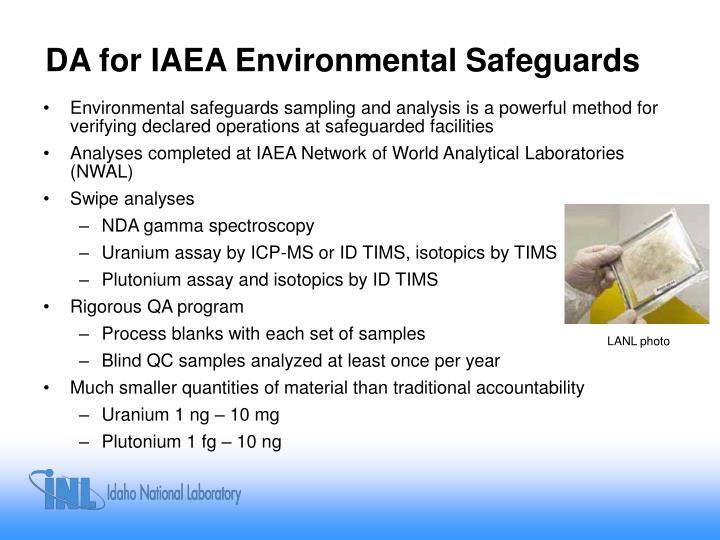 DA for IAEA Environmental Safeguards
