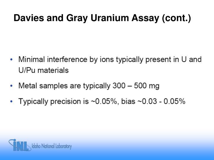 Davies and Gray Uranium Assay (cont.)