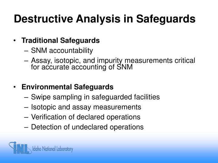 Destructive Analysis in Safeguards