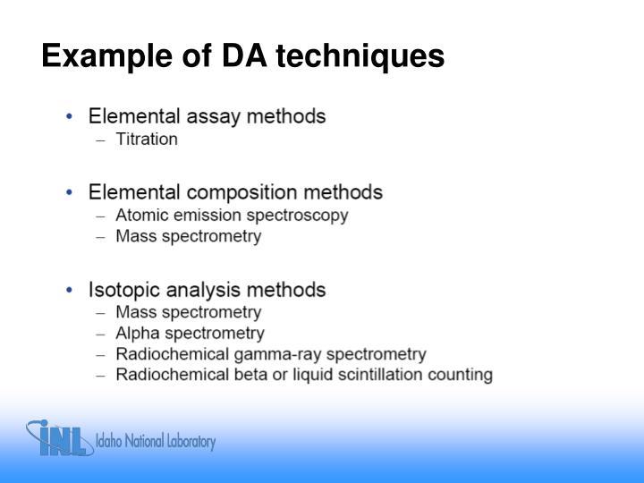 Example of DA techniques