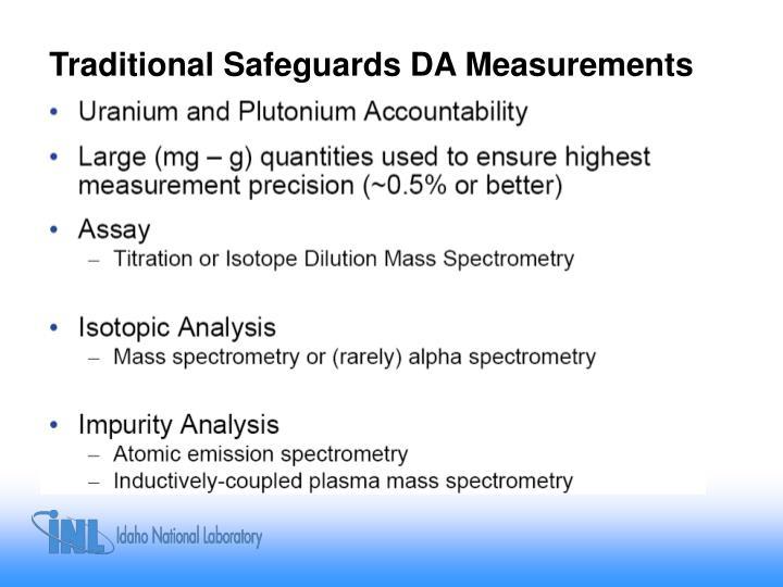 Traditional Safeguards DA Measurements