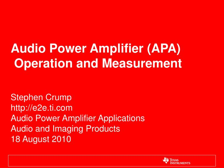 audio power amplifier apa operation and measurement