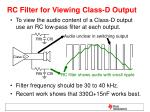 rc filter for viewing class d output