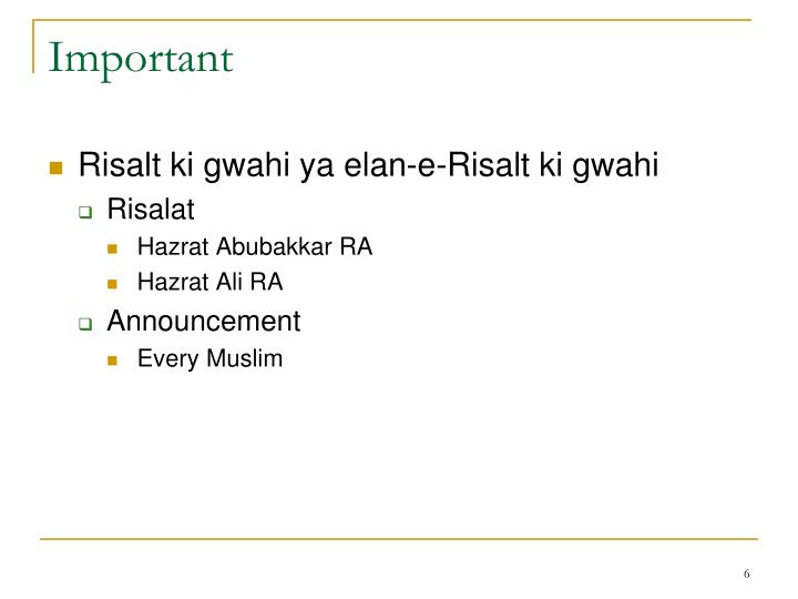 Belief In Risalat