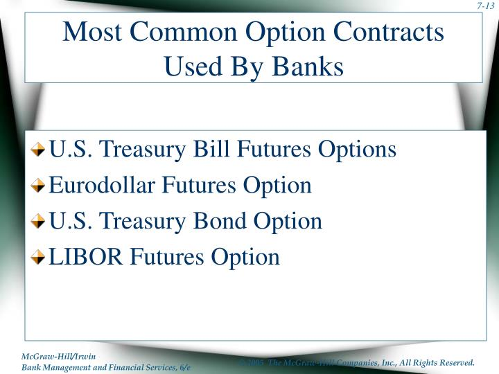 Most Common Option Contracts Used By Banks