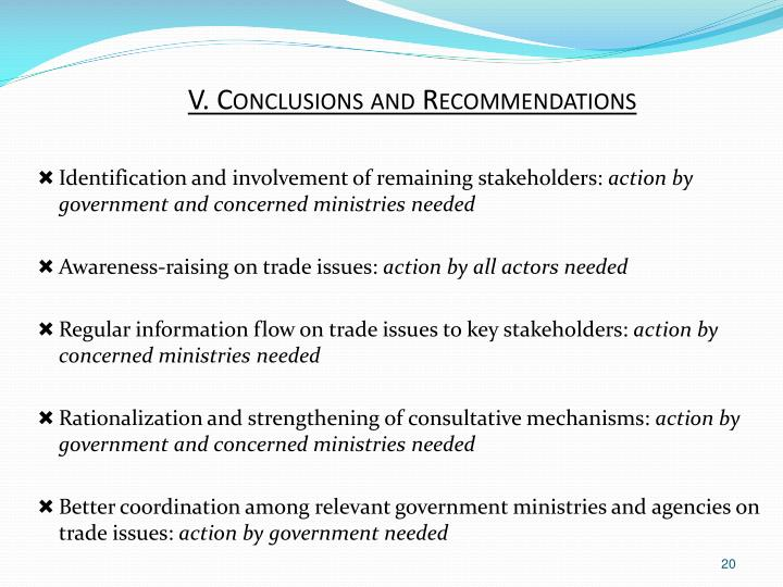 V. Conclusions and Recommendations