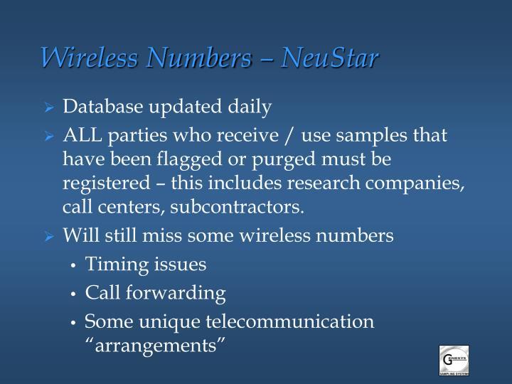 Wireless Numbers – NeuStar