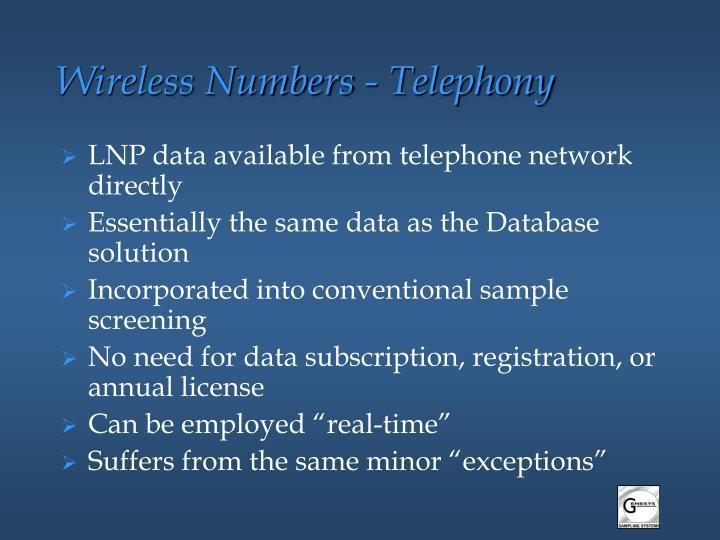 Wireless Numbers - Telephony