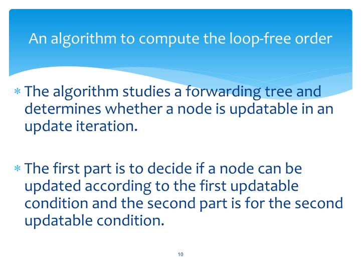 An algorithm to compute the loop-free order