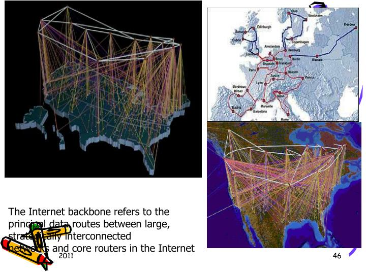 TheInternet backbonerefers to the principal data routes between large, strategically interconnected networksandcore routersin theInternet