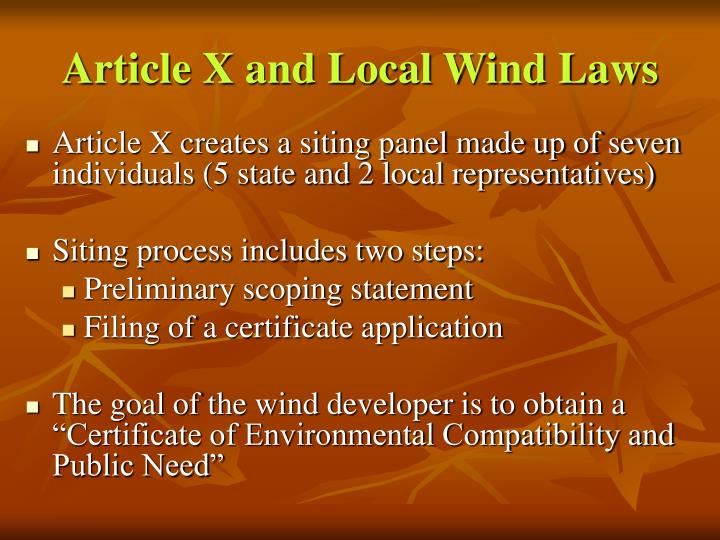 Article X and Local Wind Laws