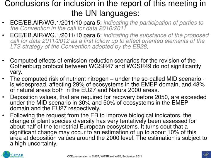 Conclusions for inclusion in the report of this meeting in the UN languages: