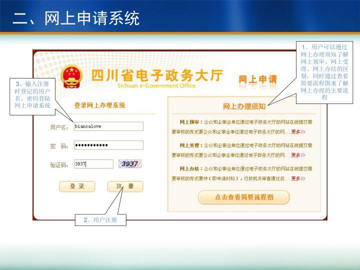 二、网上申请系统