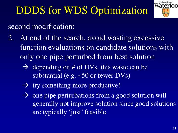 DDDS for WDS Optimization