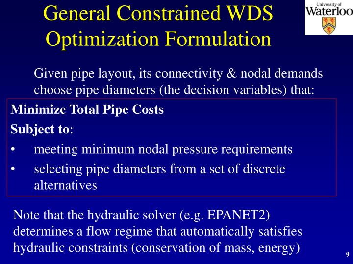 General Constrained WDS Optimization Formulation