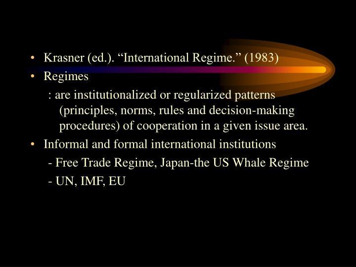 "Krasner (ed.). ""International Regime."" (1983)"