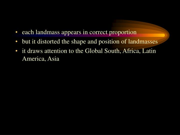 each landmass appears in correct proportion