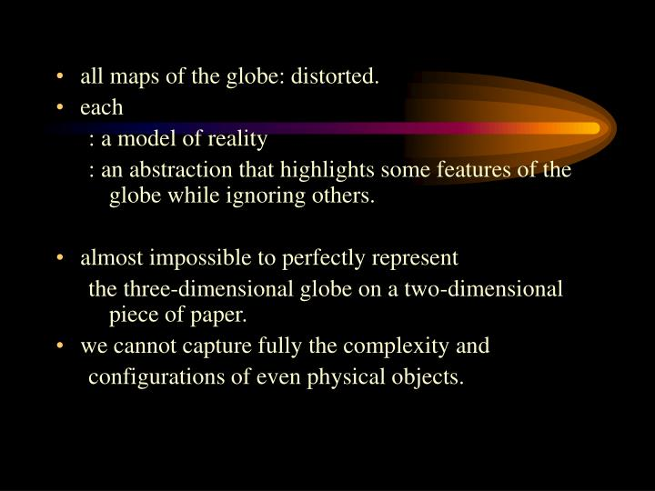 all maps of the globe: distorted.