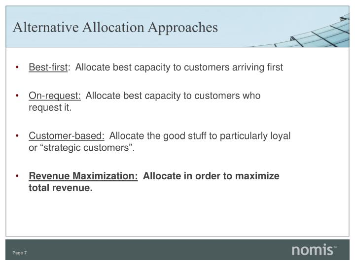 Alternative Allocation Approaches