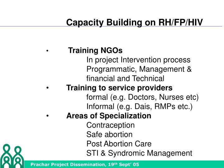 Capacity Building on RH/FP/HIV