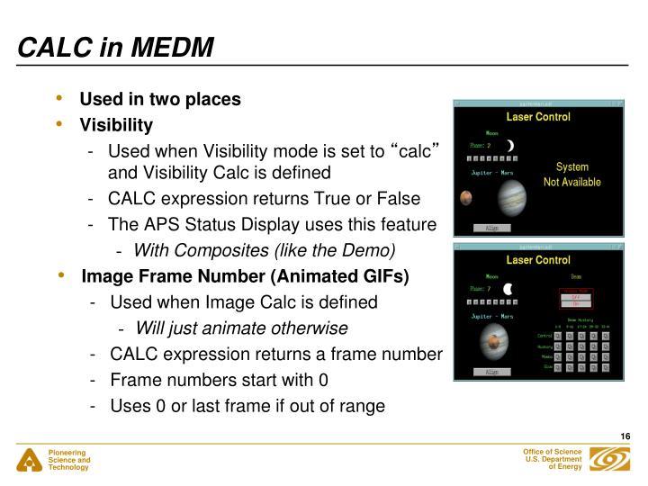 CALC in MEDM