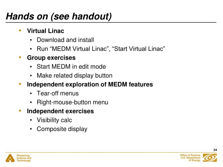 Hands on (see handout)