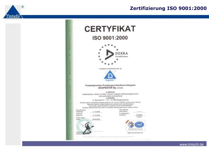 Zertifizierung ISO 9001:2000