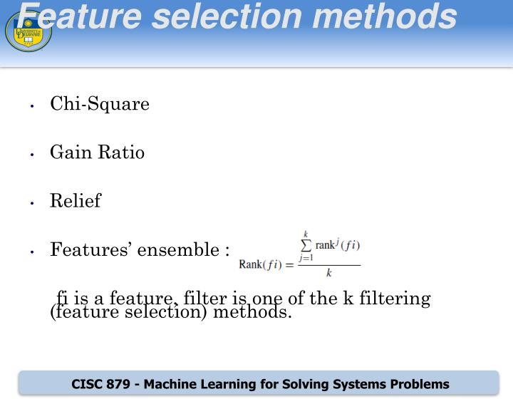 Feature selection methods