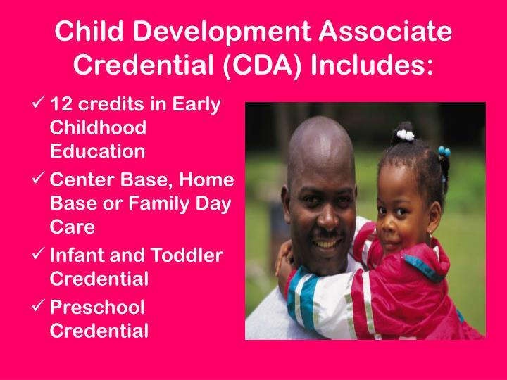 Child Development Associate Credential (CDA) Includes: