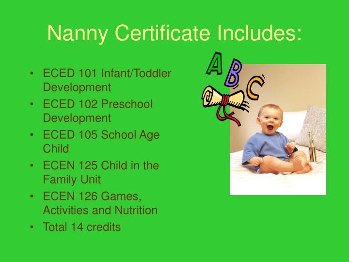 Nanny Certificate Includes: