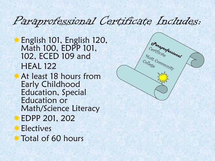 Paraprofessional Certificate Includes: