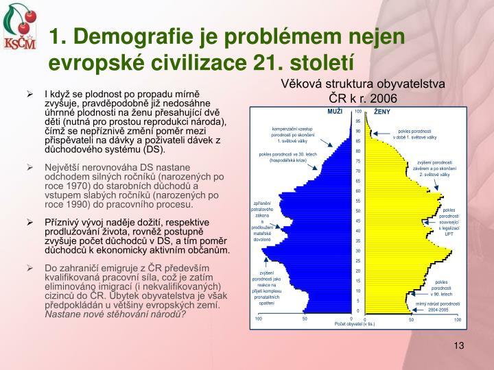 1. Demografie je problémem nejen evropské civilizace 21. století