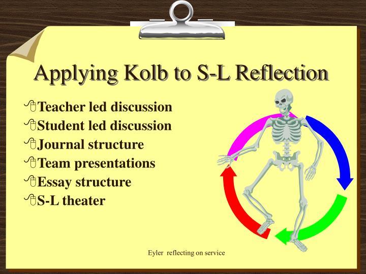 Applying Kolb to S-L Reflection