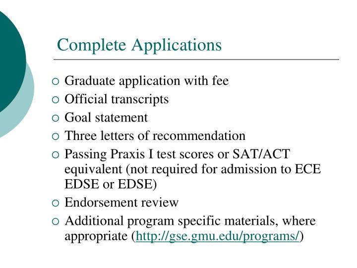 Graduate application with fee