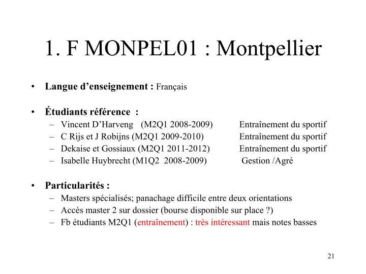 1. F MONPEL01 : Montpellier