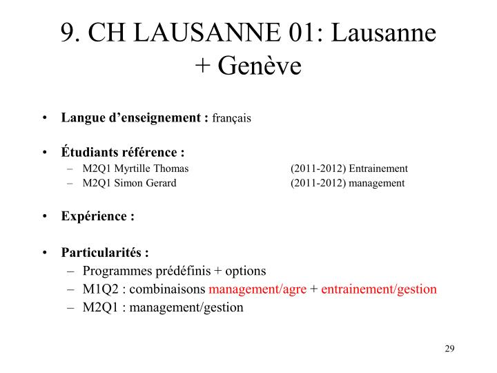 9. CH LAUSANNE 01: Lausanne