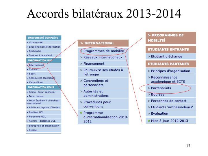 Accords bilatéraux 2013-2014