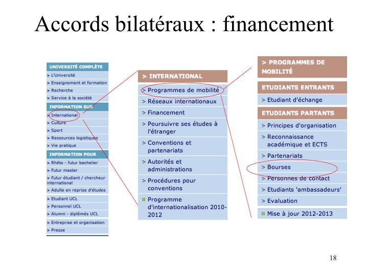 Accords bilatéraux : financement