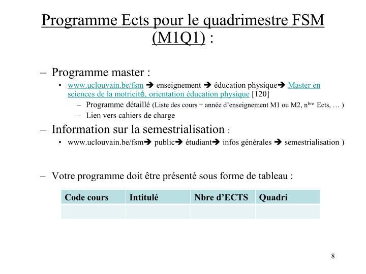 Programme Ects pour le quadrimestre FSM (M1Q1)