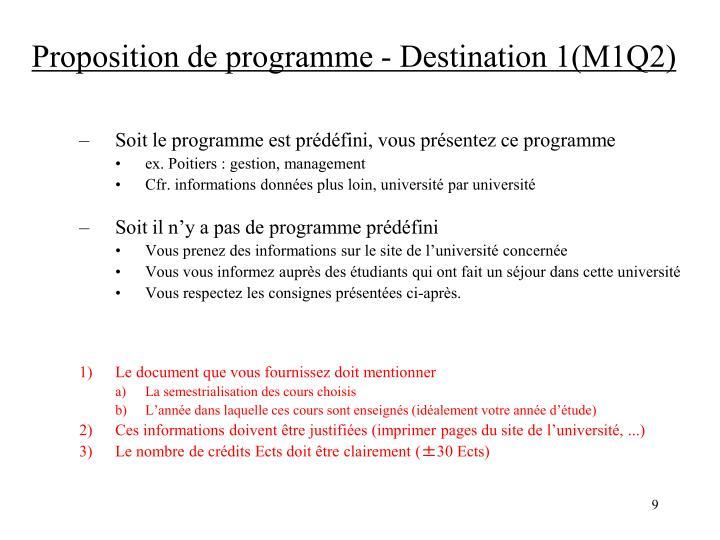 Proposition de programme - Destination 1(M1Q2)