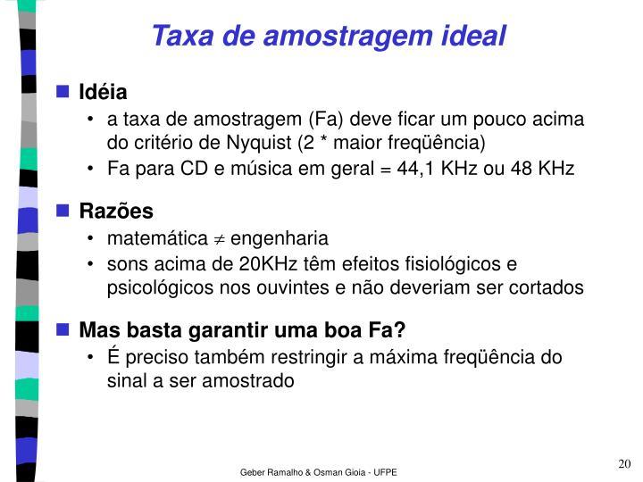 Taxa de amostragem ideal