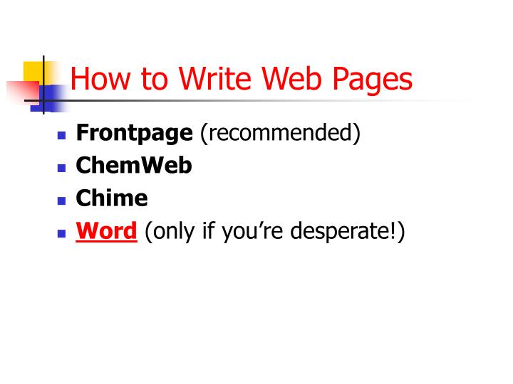 How to Write Web Pages